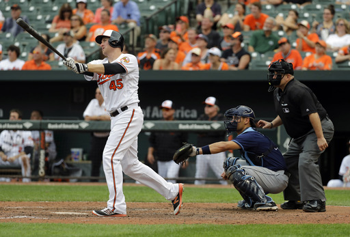 Trumbo, Machado HRs lift Orioles past Rays 2-1
