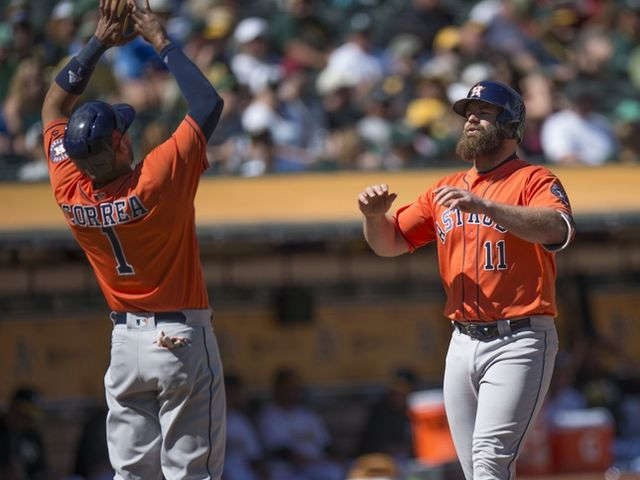 Gattis homers twice to help Astros complete sweep of A's