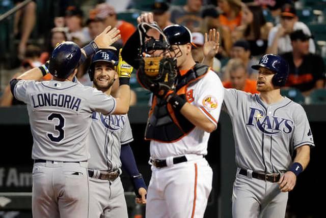Longoria HR, 5 RBIs carries Rays past Orioles 7-6
