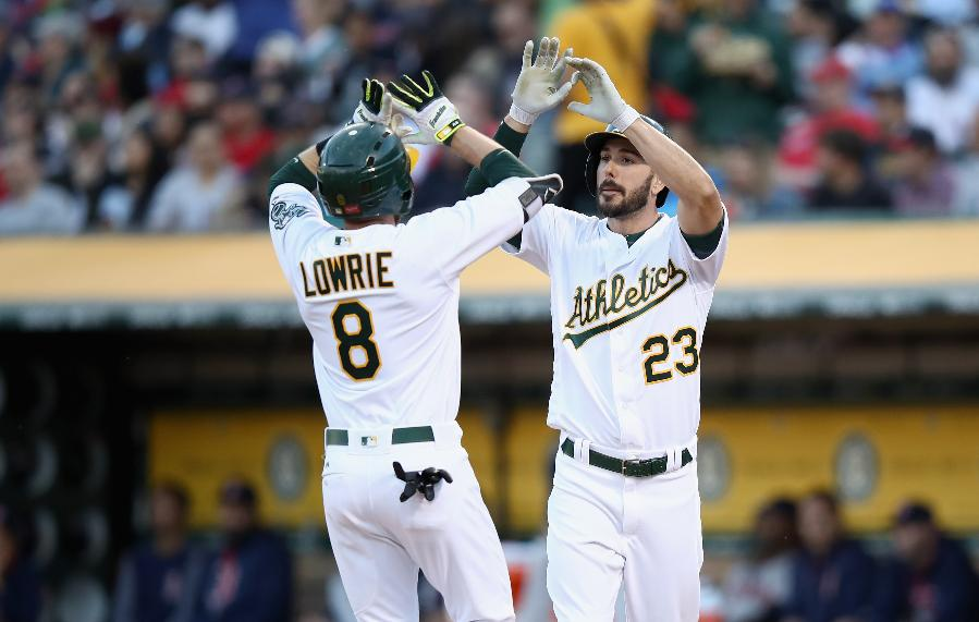 A's spoil Velazquez's debut with 3 HRs in 8-3 win vs Red Sox