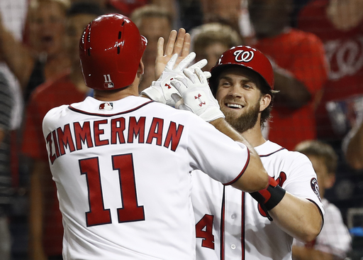 Zimmerman homers twice in return as Nats beat Braves 10-5