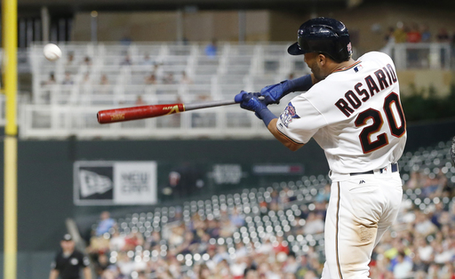 Eddie Rosario's 3 HRs highlight Twins' franchise-record 28 hits in rout