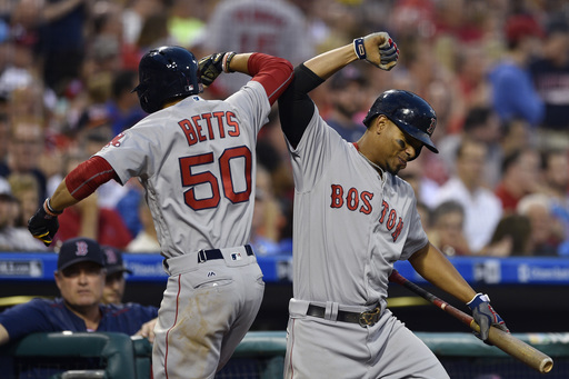 Betts homers twice to lift Red Sox over Phillies 7-3