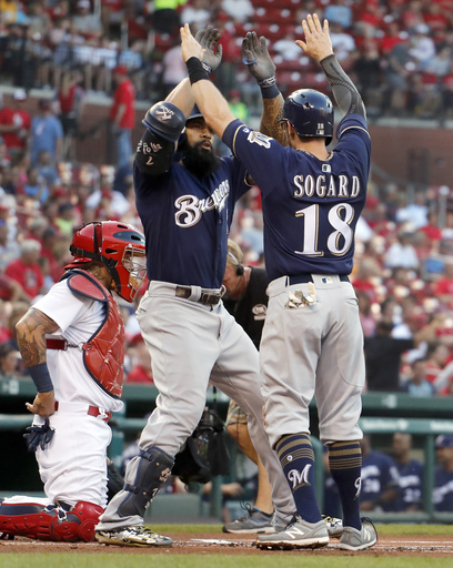 Thames' homer leads Brewers to 7-6 win over Cardinals