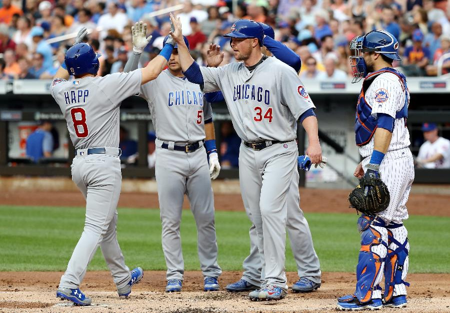 Rizzo leads off, goes long; Happ hits slam as Cubs rout Mets