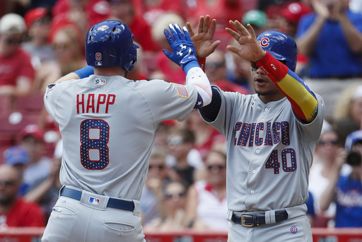 Arrieta sharp again, Happ homers twice as Cubs beat Reds 6-2