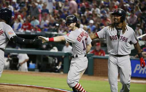 Benintendi leads Red Sox past Rangers 11-4 for 6th straight