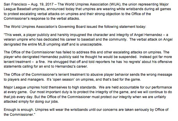 "MLB Umpires wearing wristbands to protest ""Escalating Verbal Attacks"""
