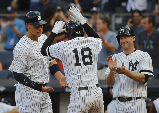 Yankees hit 3 HRs, back Montgomery in 9-3 win over Orioles